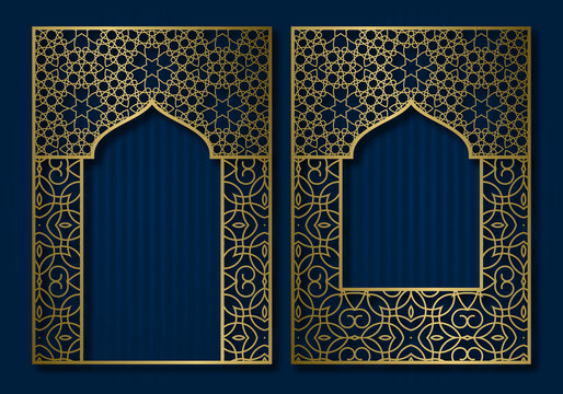 Vintage frames in form of oriental door and window. Brochure, book or greeting card golden cover backdrop design.
