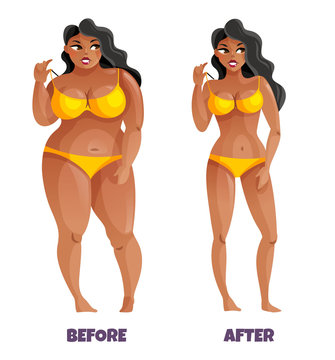Woman Before And After Slimming