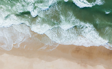 aerial view of Fantastic waves and beach