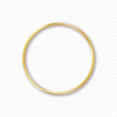 Vector gold circle frame with shadow on transparent background. Elegant design template for invitations, cards, information.
