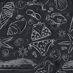 Seamless Patterns with  summer symbols, Ice cream, swimsuit, gull, fish, ship on  grunge blackboard,  vector illustration.