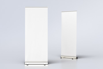 blank roll up banner display stands on white Wall mural