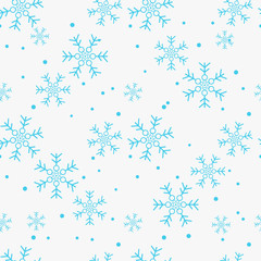 Snowflake simple seamless pattern. Blue snow on white background. Abstract wallpaper, wrapping decoration. Symbol of winter, Merry Christmas holiday, Happy New Year celebration Vector illustration