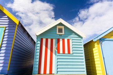 beach, house, hut, sky, roof, huts, blue, seaside, summer, coast, architecture, home, wood, building, vacation, window, red, holiday, wooden, beach huts, colorful, sea, beach hut