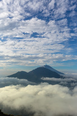 volcano Batur, Bali island, Indonesia. Sunrise, cloudy weather