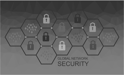 Global network security. Vector polygonal technology concept.