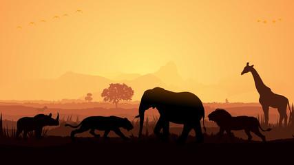 Garden Poster Brown Wild animals silhouette, birds, elephant, deer