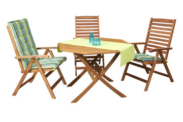 Set of folding wooden garden furniture - table and 3 chairs isolated on white and with clipping path