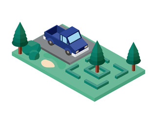 car parking and trees scene isometric icon vector illustration design