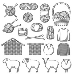 Set of wool items. Goods for hand made, knitting or tailor shop