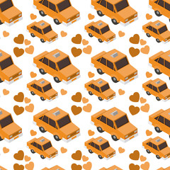 isometrics taxis and hearts pattern background vector illustration design