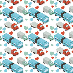 isometrics trucks and hearts pattern background vector illustration design