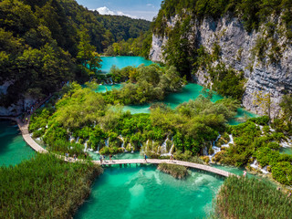 Tuinposter Luchtfoto Plitvice Lakes Croatia