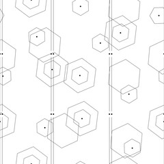 seamless pattern with abstract geometrical shapes vector on white background - black and white pattern