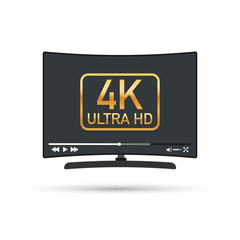 Modern flat screen tv with ultra high definition, 4k ultra hd screen format. Tv with online player. Vector illustration.