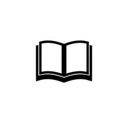 Open School Book, Textbook icon. Simple Flat Vector Illustration sign. Black symbol on white background