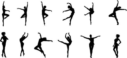 女性バレエダンサーのシルエット