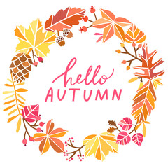 Autumn vector circle banner. Hello autumn greeting