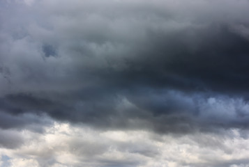 Stormy clouds on the dark sky background for rainy season and nature concept