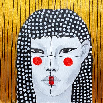 dipinto olio su tela donna con un make up creativo