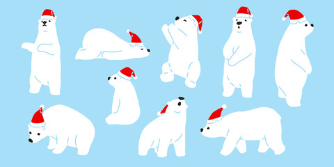 Bear vector Christmas polar bear Santa Claus icon hat cartoon character logo teddy illustration doodle