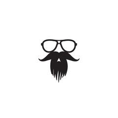 mustache and glasses icon, vector template