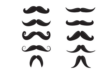 vector set of hipster mustache, icon template