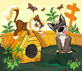 The cat playing with the dog/The cat lies on a doghouse located on the lawn, and looks at the dog sitting next to the stump