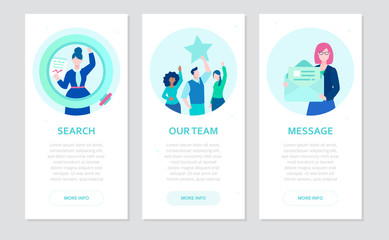 Human resource - set of flat design style banners