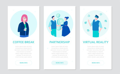Modern business - set of flat design style banners