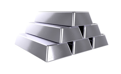 3D realistic render of pile silver bars. Isolated on white background.