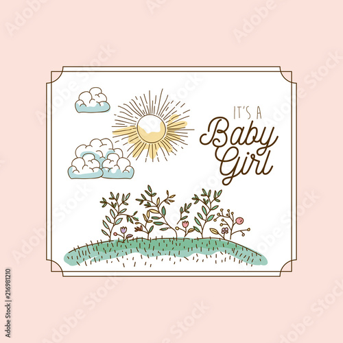 Its a girl hand draw invitation card vector illustration design its a girl hand draw invitation card vector illustration design stopboris Gallery