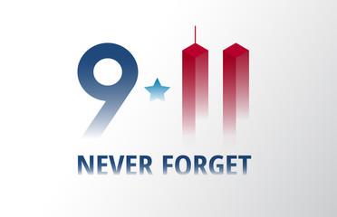 Patriot Day September 11 poster vector illustration. 9/11 lettering patriotic banner background