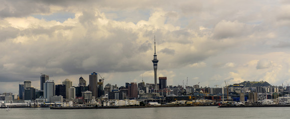 The skyline of Auckland in the evening light, New Zealand