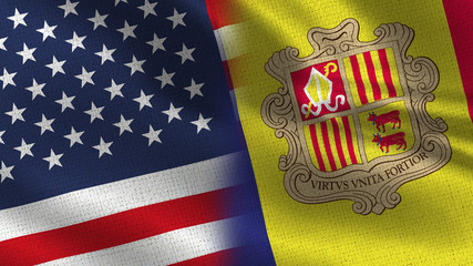 Usa and Andorra Realistic Half Flags Together