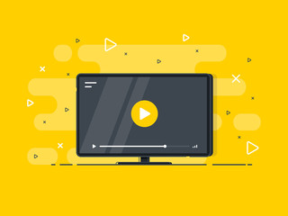 Video tutorials icon concept. Video conference and webinar icon, internet and video services. Trendy flat vector on yellow background. Vector Illustration.