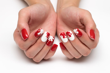 Red white manicure with blots on long square nails