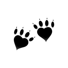 Pet animal dog cat paw print isolated on white. Icon, logotype
