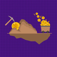 bitcoin mining set icons vector illustration design