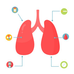 Lungs Infographic design with set of icons