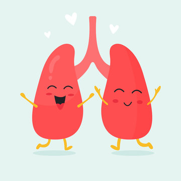 Cute lungs organs characters