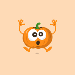 Illustration of cute pumpkin scared mascot isolated on light background. Flat design style for your mascot branding.