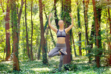 Woman exercise in park. Healthy lifestyle, body care