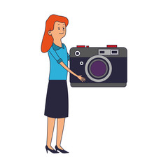 Woman with camera vector illustration graphic design