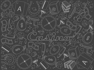 Casino piece of chalk line art design vector illustration