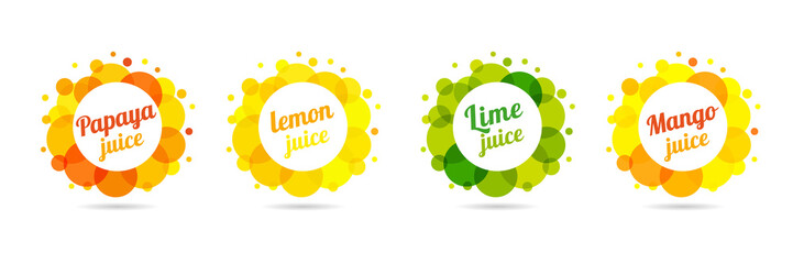 Fresh juice papaya, lemon, lime, mango in label splash set design. Orange, yellow and green drops bubbly logo on white background. Apple and orange juice design, creative vector illustration