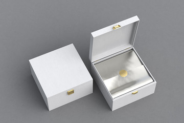 Open and closed square gift box or casket