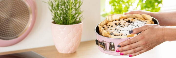 Close-up of woman's hands holding a springform pan with homemade cake and herbs in a pastel pink pot in a modern kitchen interior