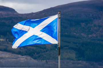 The Scotland flag blowing in the wind on a cold winter day