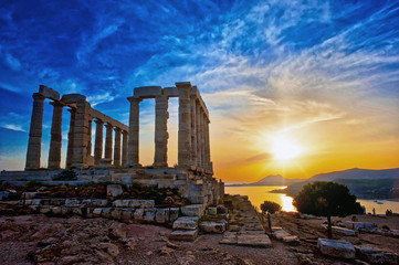 Fotobehang Rudnes The Temple of Poseidon at Sounion, Greece, near Athens